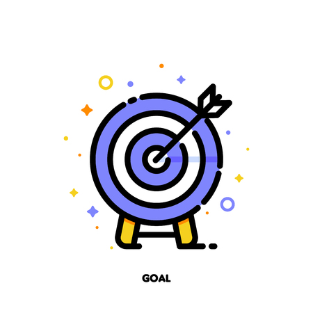 Icon of arrow in center of board for business goal concept. Flat filled outline style. Stock Illustratie
