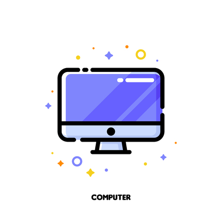 Icon of desktop or pc for office work concept. Flat filled outline style. Pixel perfect 64x64. Editable stroke