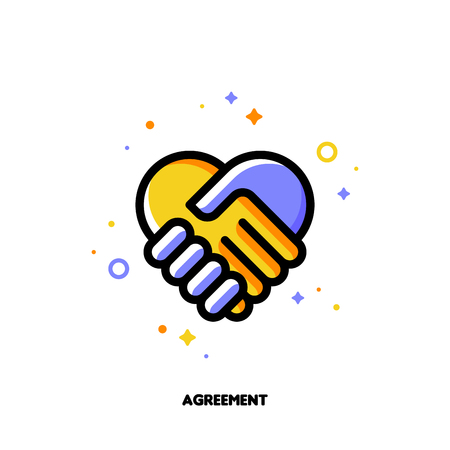 Icon of handshake as agreement symbol for law and justice concept. Flat filled outline style. Pixel perfect 64x64. Editable stroke