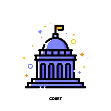 Icono del edificio de la corte por concepto de derecho y justicia. Estilo de contorno relleno plano. Pixel perfect 64x64. Trazo editable