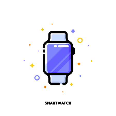 Icon of smart watch for gadget concept. Flat filled outline style. Pixel perfect 64x64. Editable stroke
