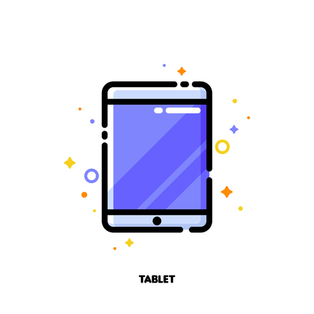 Icon of tablet computer with big display with purple screen for gadget concept. Flat filled outline style. Pixel perfect 64x64. Editable stroke