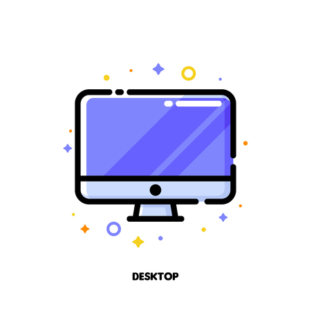 Icon of desktop computer with big display with purple screen for gadget concept. Flat filled outline style. Pixel perfect 64x64. Editable stroke