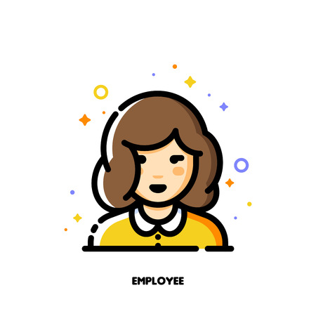 Female user avatar of employee. Icon of cute girl face. Flat filled outline style. Pixel perfect 64x64. Editable stroke Vektorové ilustrace