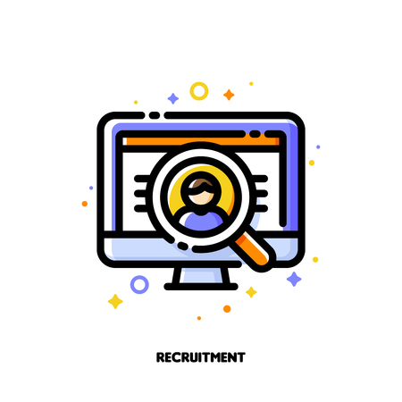 Icon of computer screen with person photo and magnifying glass for recruitment or employee search concept. Flat filled outline style. Pixel perfect 64x64. Editable stroke