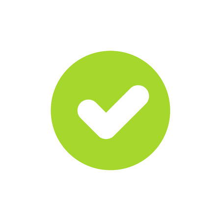 Icon of green check mark or tick for ok or accept concept. Flat style. Pixel perfect