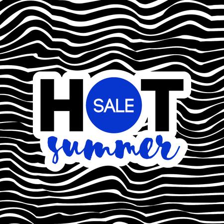 Hot summer sale text on wavy background. Elegant modern design