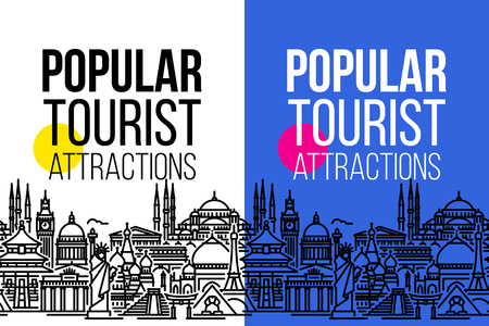 Vertical banner with seamless cityscape of worlds most popular tourist attractions. Modern flat line vector illustration for traveling, vacation, tourism and journey concept