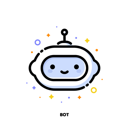 Icon of cute robot which symbolizes artificial intelligence or virtual assistant for SEO concept. Flat filled outline style. Pixel perfect 64x64. Editable stroke