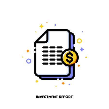 Icon of stacked paper documents pile with financial report for investment or banking services concept. Flat filled outline style. Pixel perfect 64x64. Editable stroke