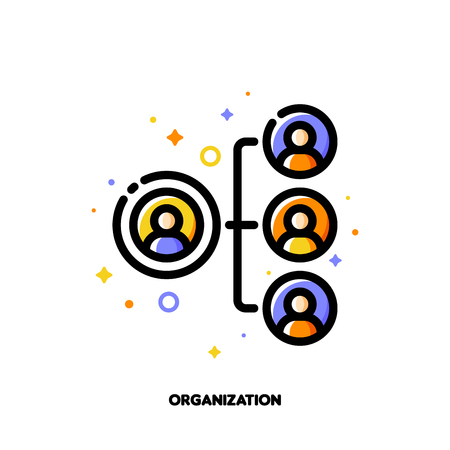 Company organizational structure icon for human resources management or business hierarchy concept. Flat filled outline style. Pixel perfect 64x64. Editable stroke Illustration