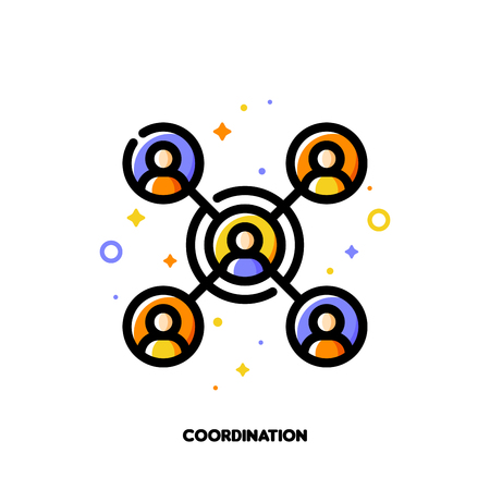 Team coordination icon for concept of participation in a group. Flat filled outline style. Pixel perfect 64x64. Editable stroke