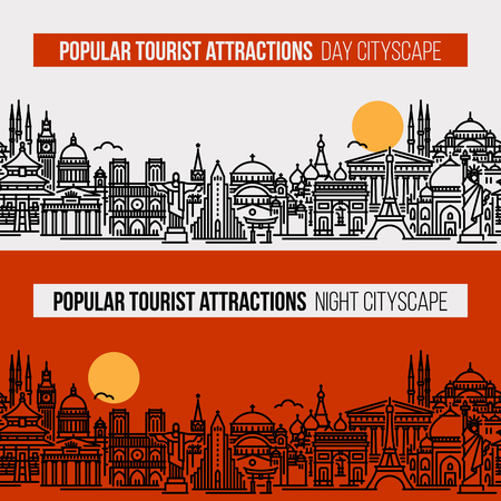 Flat line style illustration of cityscape with world's most popular tourist locations. Modern vector seamless background for traveling, summer vacation, tourism and journey concepts