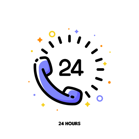 Icon of telephone handset with number 24 which symbolizes 24-hours open customer service or express delivery for help and support concept. Flat filled outline style. Pixel perfect 64x64. Editable stroke
