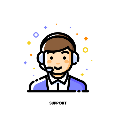 Icon of cute boy with headset which symbolizes customer service or call center for help and support concept. Flat filled outline style. Pixel perfect 64x64. Editable stroke