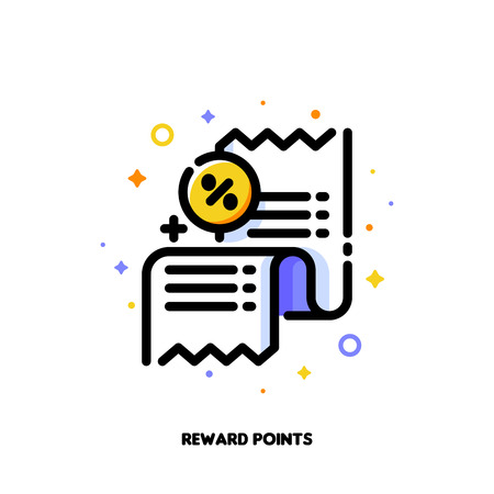 Icon of receipt with percent sign which symbolizes reward points or retail customer loyalty program for money-saving shopping concept. Flat filled outline style. Pixel perfect 64x64. Editable stroke