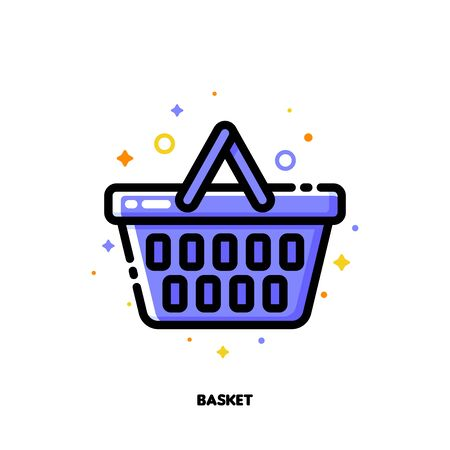 Icon of shopping basket for retail and consumerism concept. Flat filled outline style. Pixel perfect 64x64. Editable stroke Illustration