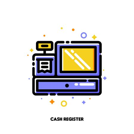 Icon of cash register for shopping and retail concept. Flat filled outline style. Pixel perfect 64x64. Editable stroke Vectores