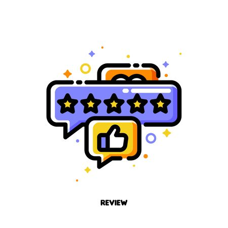 Icon of bubbles with five stars and hand thumb up which symbolize good customers product rating or positive users feedback for shopping and retail concept. Flat filled outline style. Pixel perfect 64x64. Editable stroke