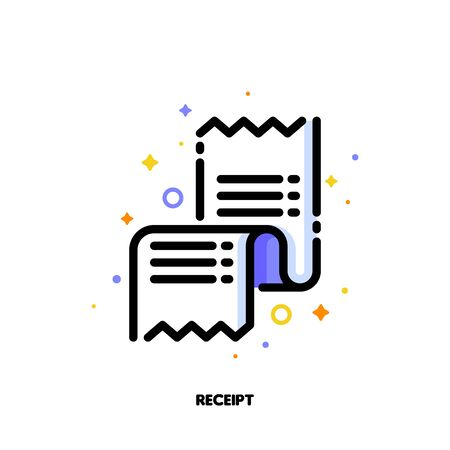 Icon of receipt or packing slip for shopping and retail concept. Flat filled outline style. Pixel perfect 64x64. Editable stroke Ilustração