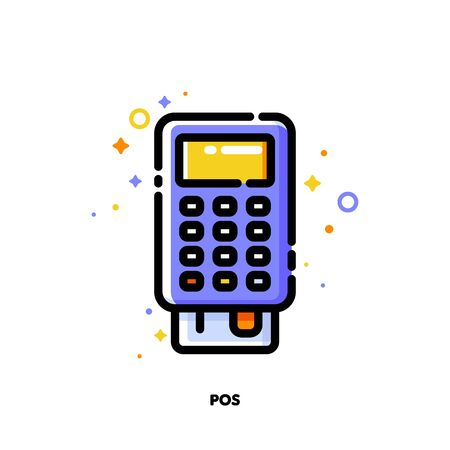 Icon of pos terminal or bank card reader for shopping and retail concept. Flat filled outline style. Pixel perfect 64x64. Editable stroke