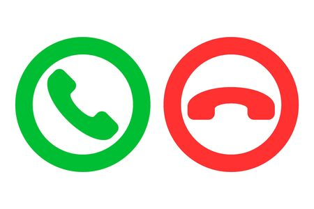 Icon or button of green and red handset silhouettes which symbolize accept and decline phone call