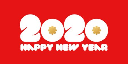 Happy New Year 2020 design with golden snowflakes and white rounded big numbers on red background. Modern vector illustration for business diary cover, brochure, calendar or greeting card