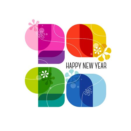 Happy New Year 2020 greeting card. Cute colorful numbers with abstract vintage decoration isolated on white background. Wonderful vector illustration in 60s retro style for business diary cover, holiday calendar, brochure or flyer