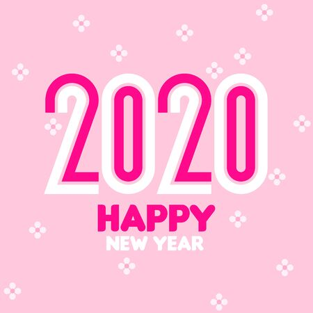 Happy New Year 2020 logo design with elegant condensed numbers on pink floral background. Modern vector illustration for greeting card, holiday calendar, book or brochure Illustration