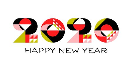 Happy New Year 2020 logo design with multicolored geometric numbers with abstract design elements on white background. Modern vector illustration for printed matter or web design