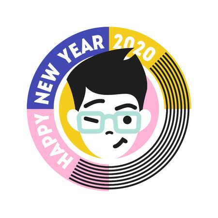 Young winking and smiling male character in round frame with text. Happy New Year 2020 cute badge isolated on white background. Flat style vector illustration for seasonal design