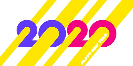 Happy New Year 2020 logo design with colorful geometric numbers and yellow abstract beams on white background. Modern vector illustration for printed matter or web design
