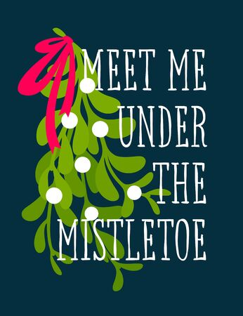 Christmas card with decorative design and Meet me under the mistletoe greetings Stockfoto - 129278491