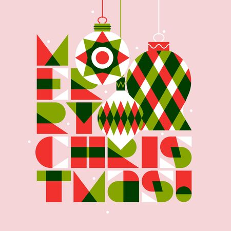 Greeting card with Merry Christmas lettering and elegant xmas balls on pink background