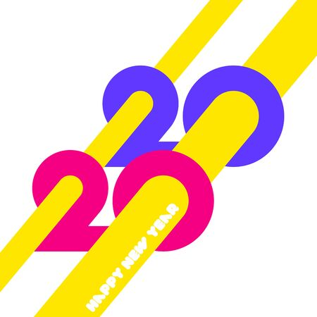 Happy New Year 2020  design with colorful geometric numbers and yellow abstract beams on white background. Modern vector illustration for printed matter or web design Stock Illustratie