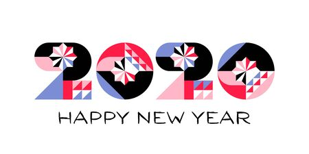 Happy New Year 2020 logo with multicolored geometric numbers with abstract design elements on white background. Modern vector illustration for printed matter or web design