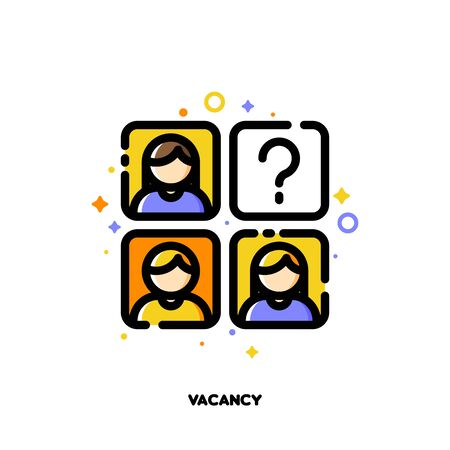 Icon of employees photos for vacancy or professional staff recruitment concept. Flat filled outline style. Pixel perfect 64x64. Editable stroke