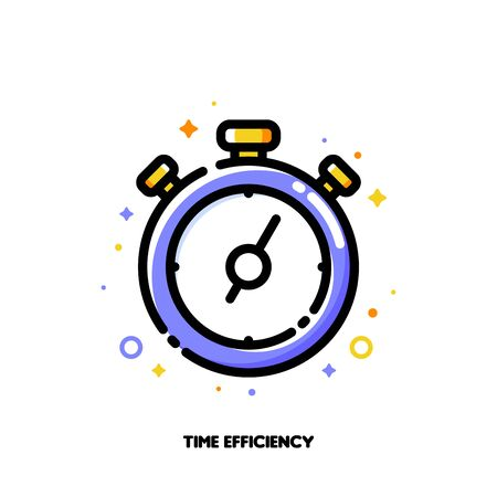 Icon of stopwatch chronometer for time management or work efficiency concept. Flat filled outline style. Pixel perfect 64x64. Editable stroke