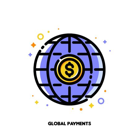 Icon of global payment system with dollar and globe for transfer money all over the world concept. Flat filled outline style. Pixel perfect 64x64. Editable stroke Иллюстрация