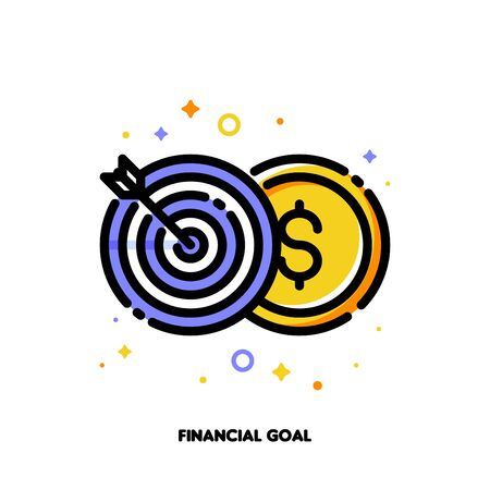 Icon of globe and arrow in center of board for financial goal or successful business concept. Flat filled outline style. Pixel perfect 64x64. Editable stroke