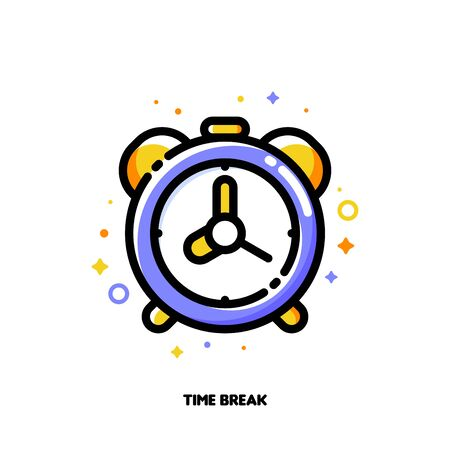 Icon of alarm clock for time management or work efficiency concept. Flat filled outline style. Pixel perfect 64x64. Editable stroke Çizim