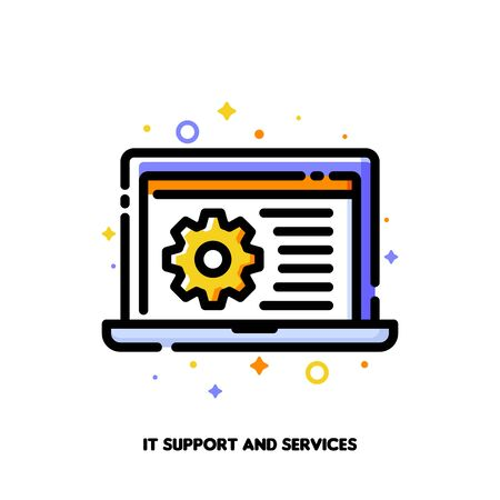 IT support icon with laptop and gear for computer repair services or software development concept. Flat filled outline style. Pixel perfect 64x64. Editable stroke