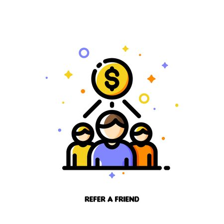 Icon with business team and dollar sign for partner program or referrals network concept. Flat filled outline style. Pixel perfect 64x64. Editable stroke