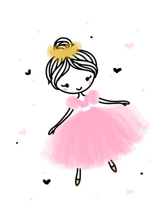 Cute dancing ballerina in pink transparent skirt. Hand drawn cartoon with adorable little ballet dancer. Simple vector illustration isolated on white. Use for t-shirt print, kids wear fashion design or baby shower invitation card. Editable stroke 矢量图像