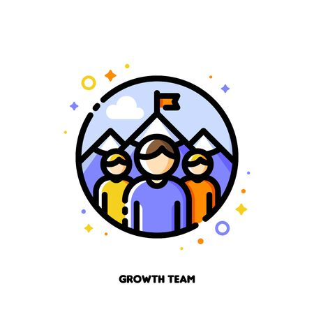 Icon of three persons on a background of mountain peak for business development or growth team concept. Flat filled outline style.