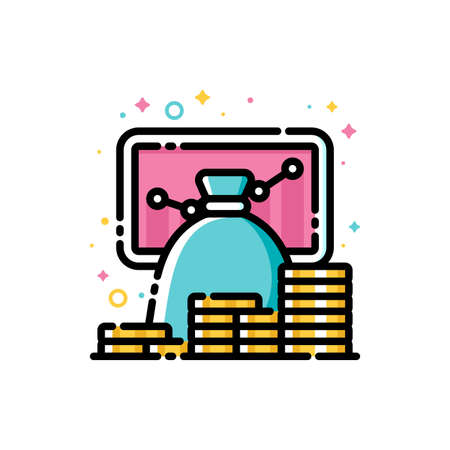 Return on investment chart, finance graph, budget planning and income growth concept. Flat filled outline style icon of money bag and stacks of coins. 72x72 pixel perfect. Editable stroke Illusztráció