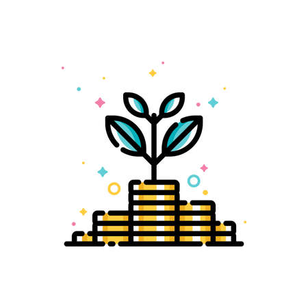 Income increase and make more money concept with plant growing out of gold coins. Flat filled outline style icon. 72x72 pixel perfect. Editable stroke
