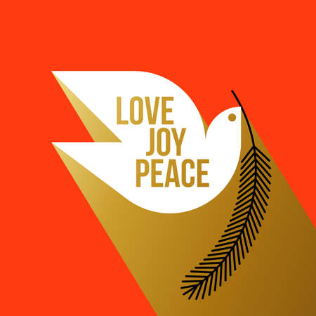 Christmas greeting card with wishes of peace love joy and white dove holding fir tree branch