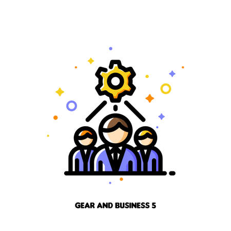 Icon of business team and gear for technical project development optimization concept. Flat filled outline style. Pixel perfect 64x64. Editable stroke