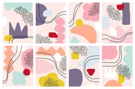 Set of abstract backgrounds with hand drawn doodle objects and various organic shapes. Modern collage for pre-made poster or print. Multicolored vector illustration. Stroked paths are editable Vektorgrafik